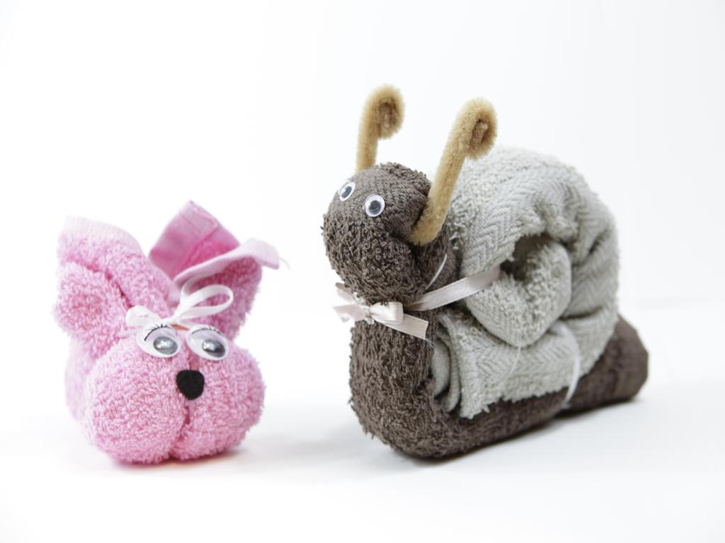 Animaletti con lavette: Coniglio sdraiato